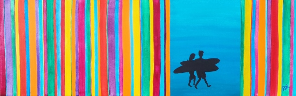 ''Colourful Surfers'' 36x12